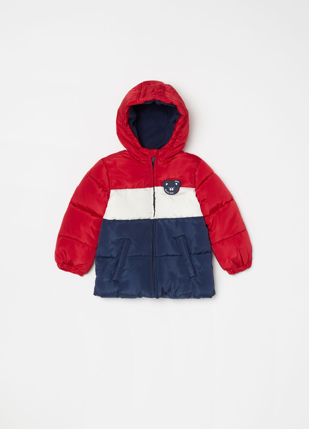 Padded and quilted jacket with patch.