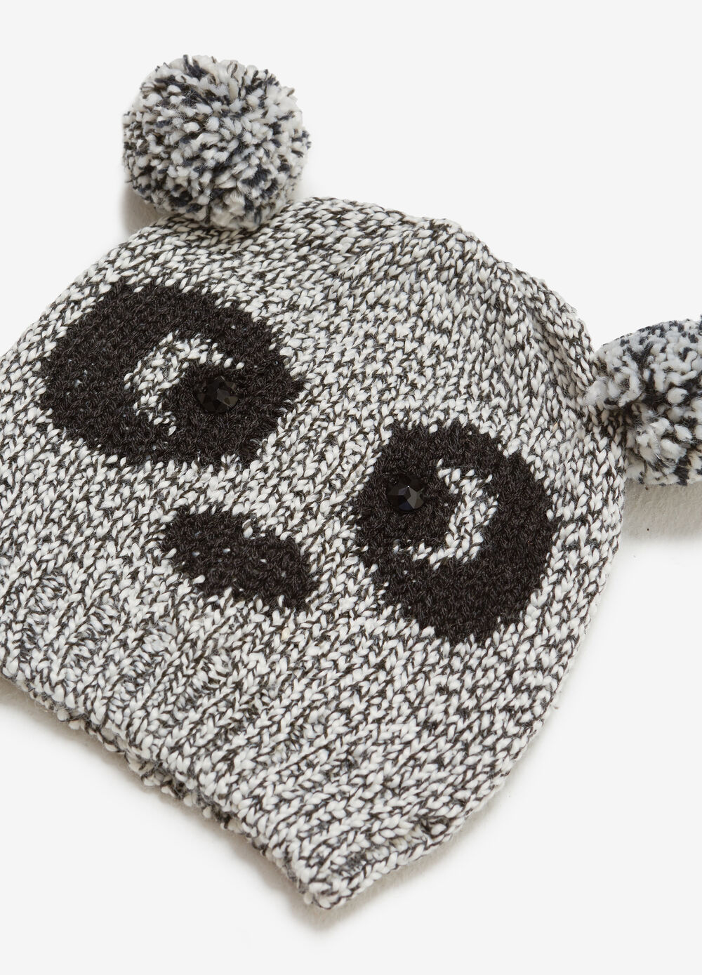 Beanie cap with diamantés and panda