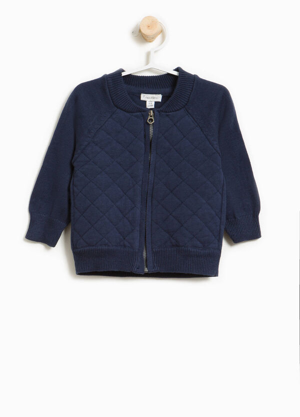 Cotton sweatshirt with zip and quilted weave | OVS
