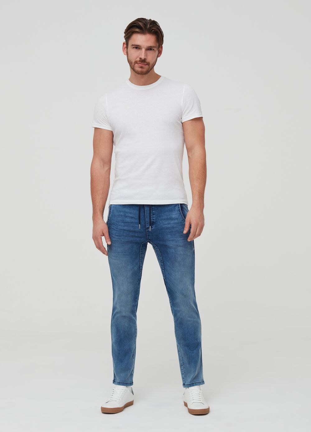 Slim-fit denim chino joggers
