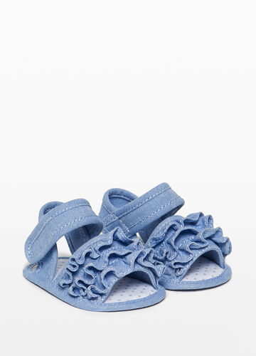 Canvas sandals with flounce