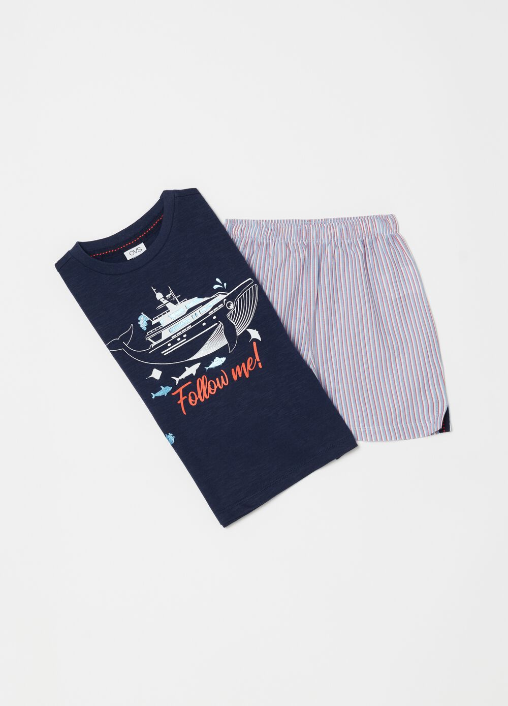 Jersey pyjamas with canvas shorts