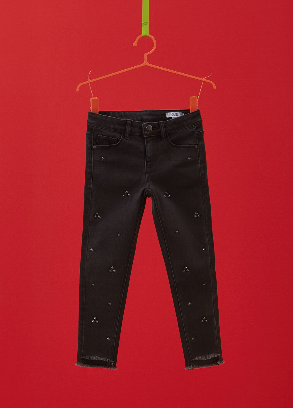 Stretch cotton trousers with studs