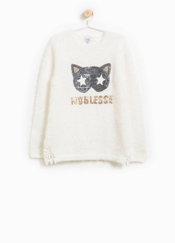 Frayed pullover with sequins | OVS