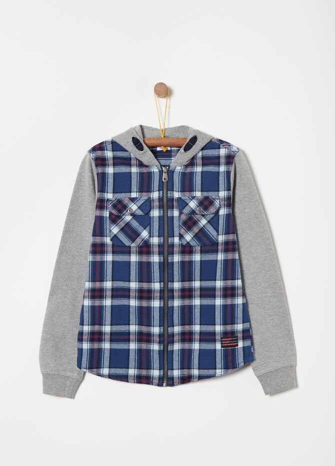 Check shirt in twill with zip