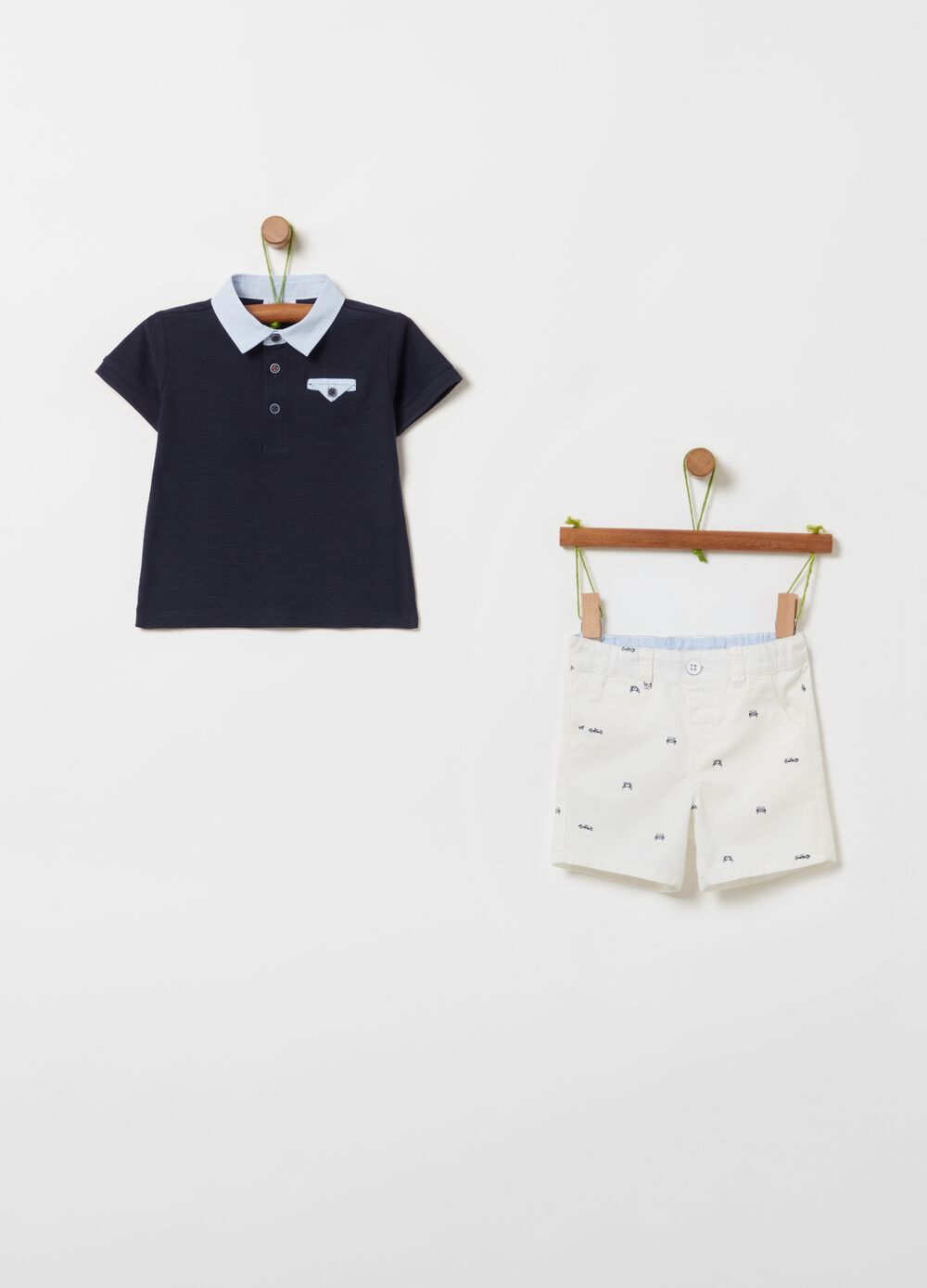Polo shirt and shorts set in 100% organic cotton