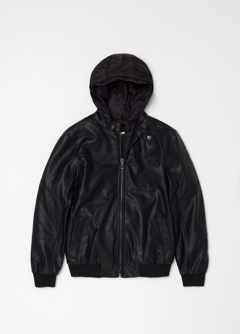 Leather-look bomber jacket with padded hood