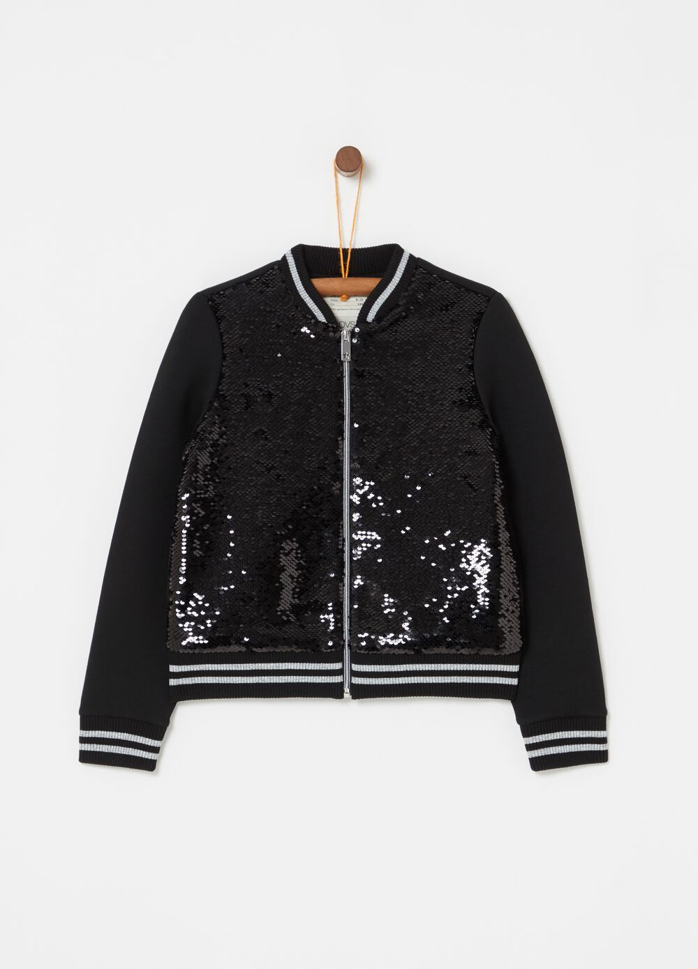 Bomber jacket with striped inserts and sequins