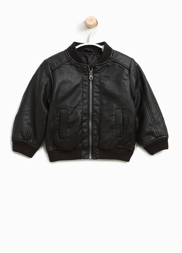 Leather look bomber jacket with pockets | OVS