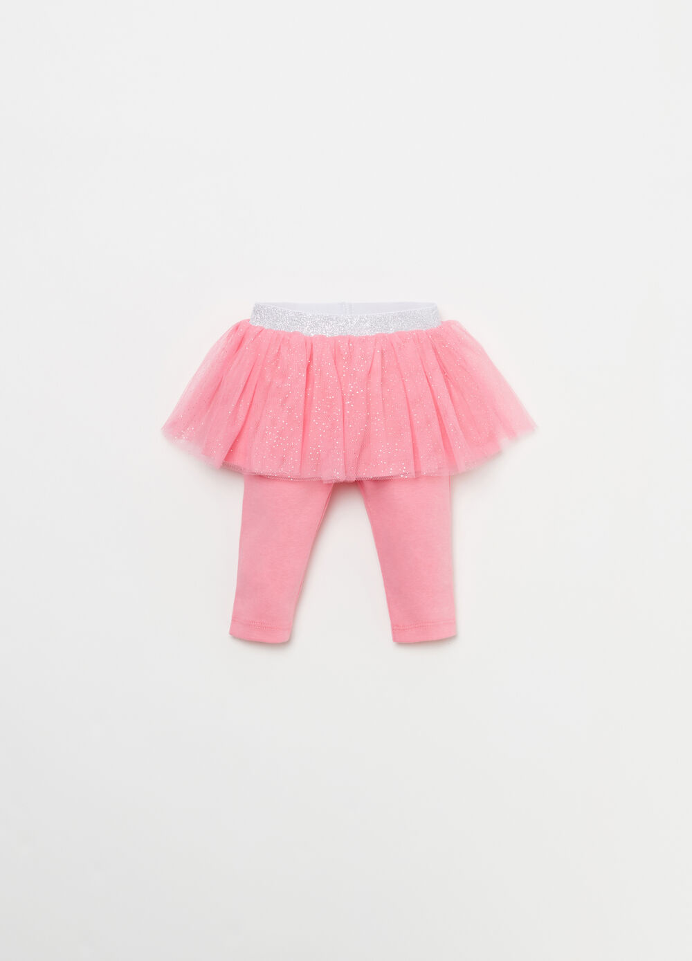 Cotton leggings with glitter tulle skirt