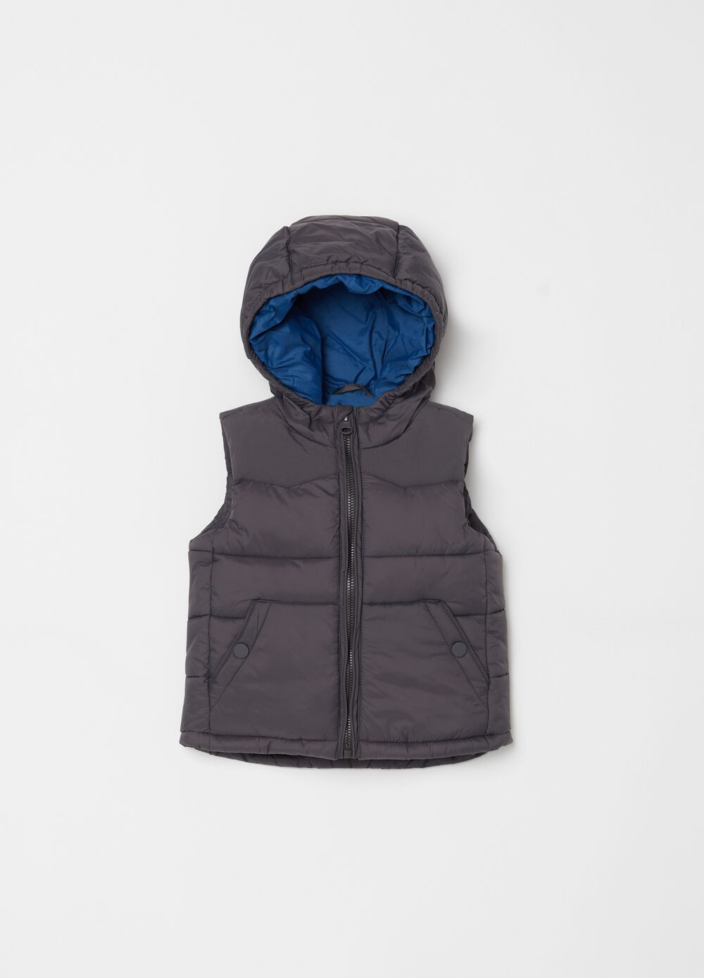 Padded gilet with hood and pockets
