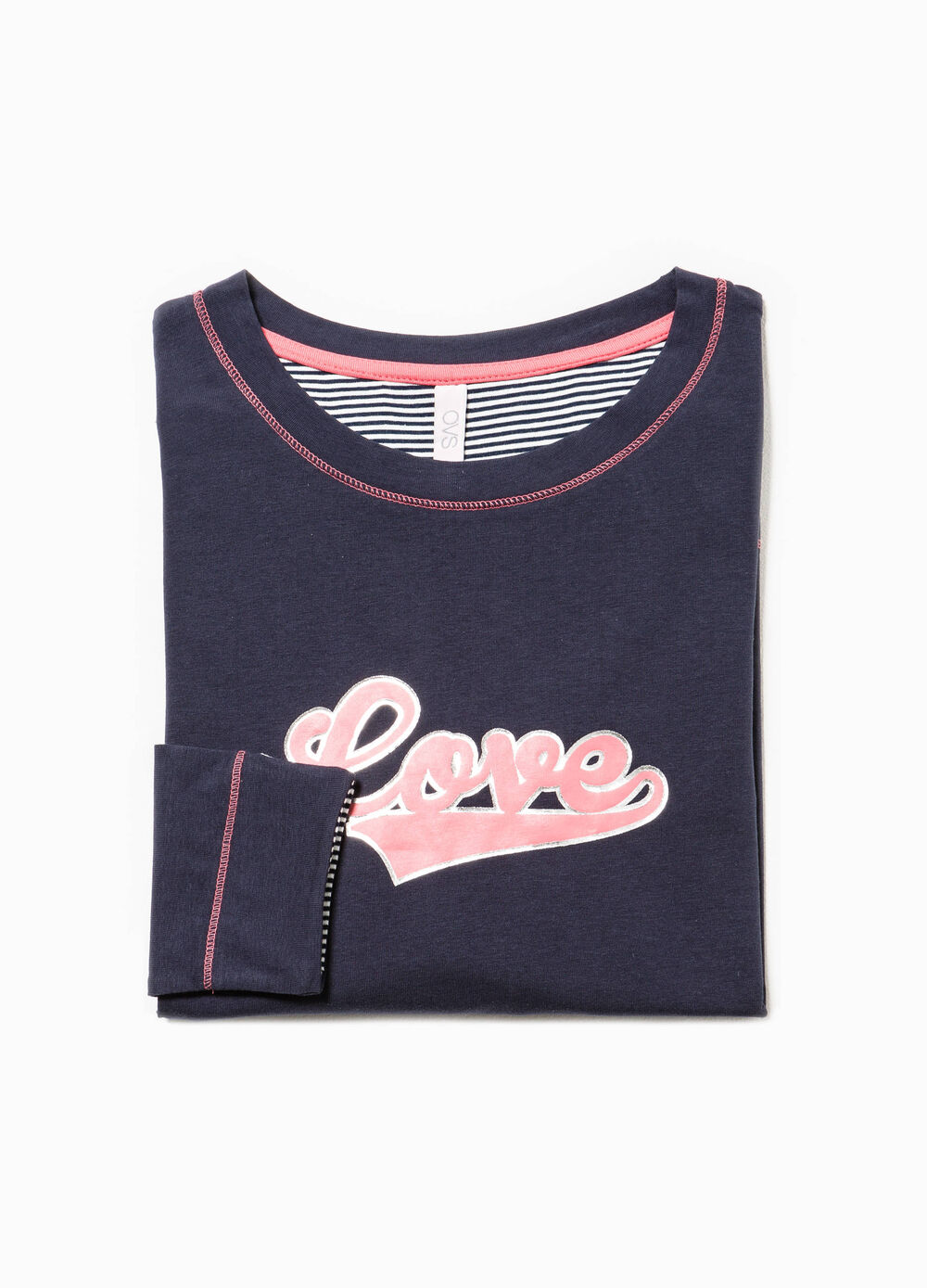 Pyjama top with printed lettering