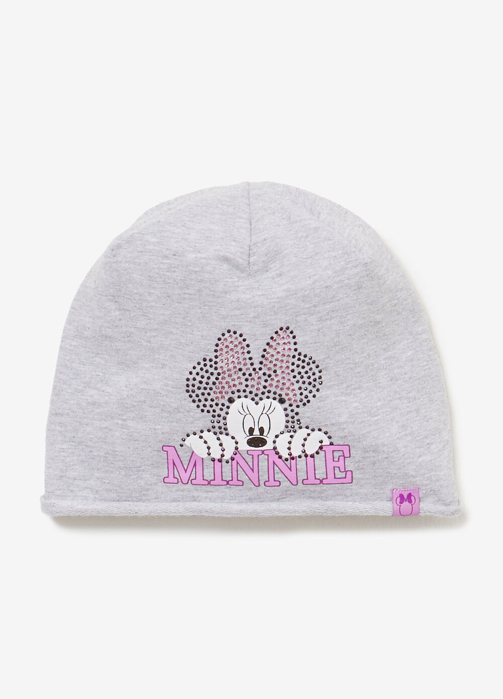 Minnie Mouse print and diamanté beanie cap