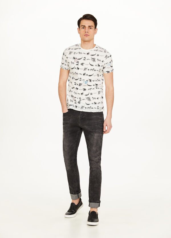 100% cotton T-shirt with savannah pattern
