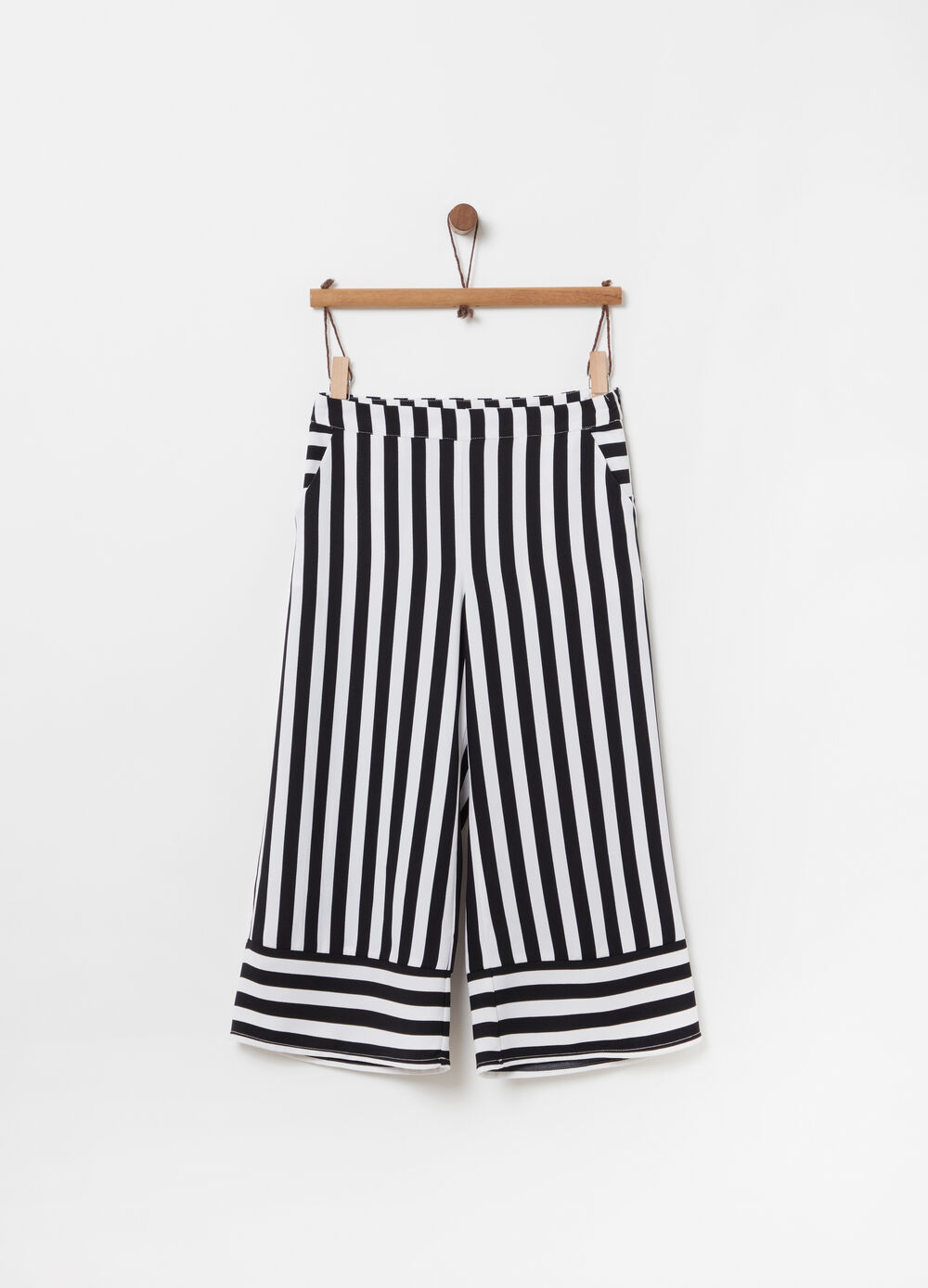 Striped crop palazzo trousers