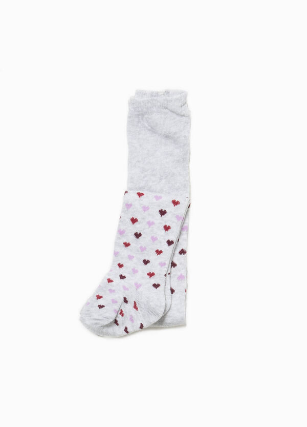 Cotton jacquard tights with hearts