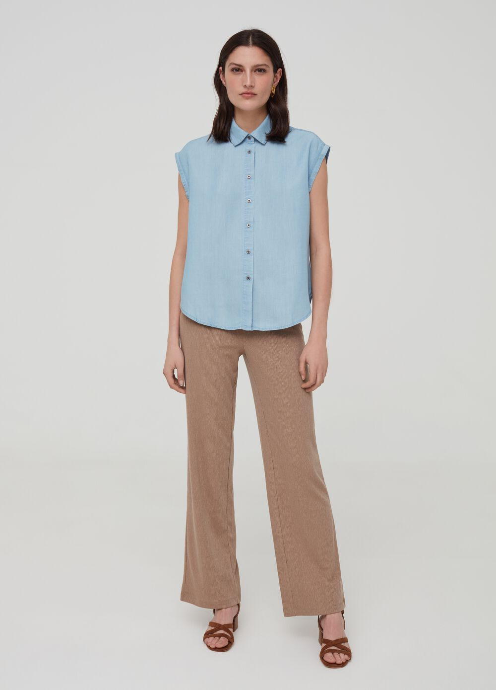 Flared trousers with elasticated waist