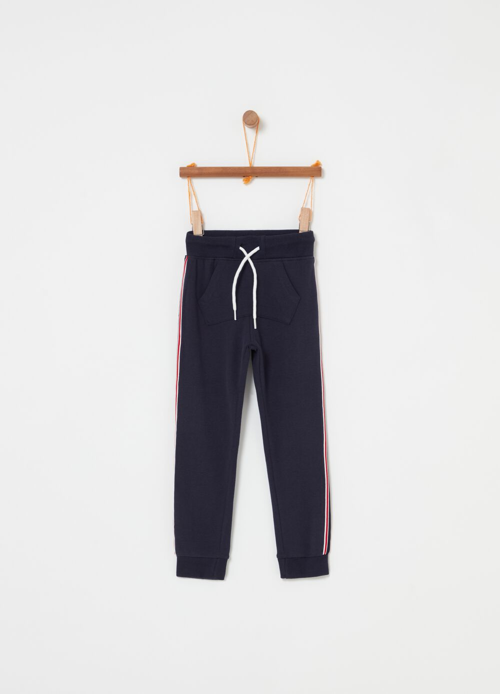 Solid colour fleece joggers with drawstring