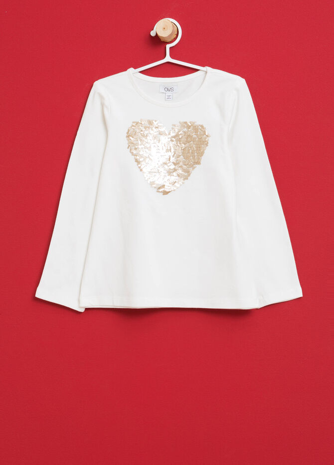 T-shirt in cotone stretch con paillettes