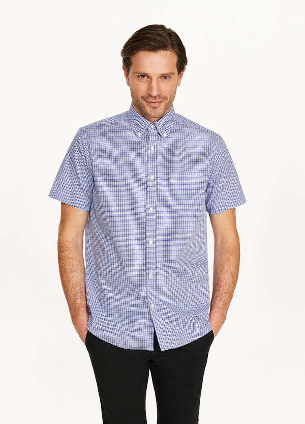 Regular-fit formal tartan shirt
