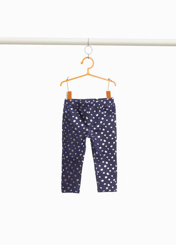 Stretch jeggings with shiny heart pattern