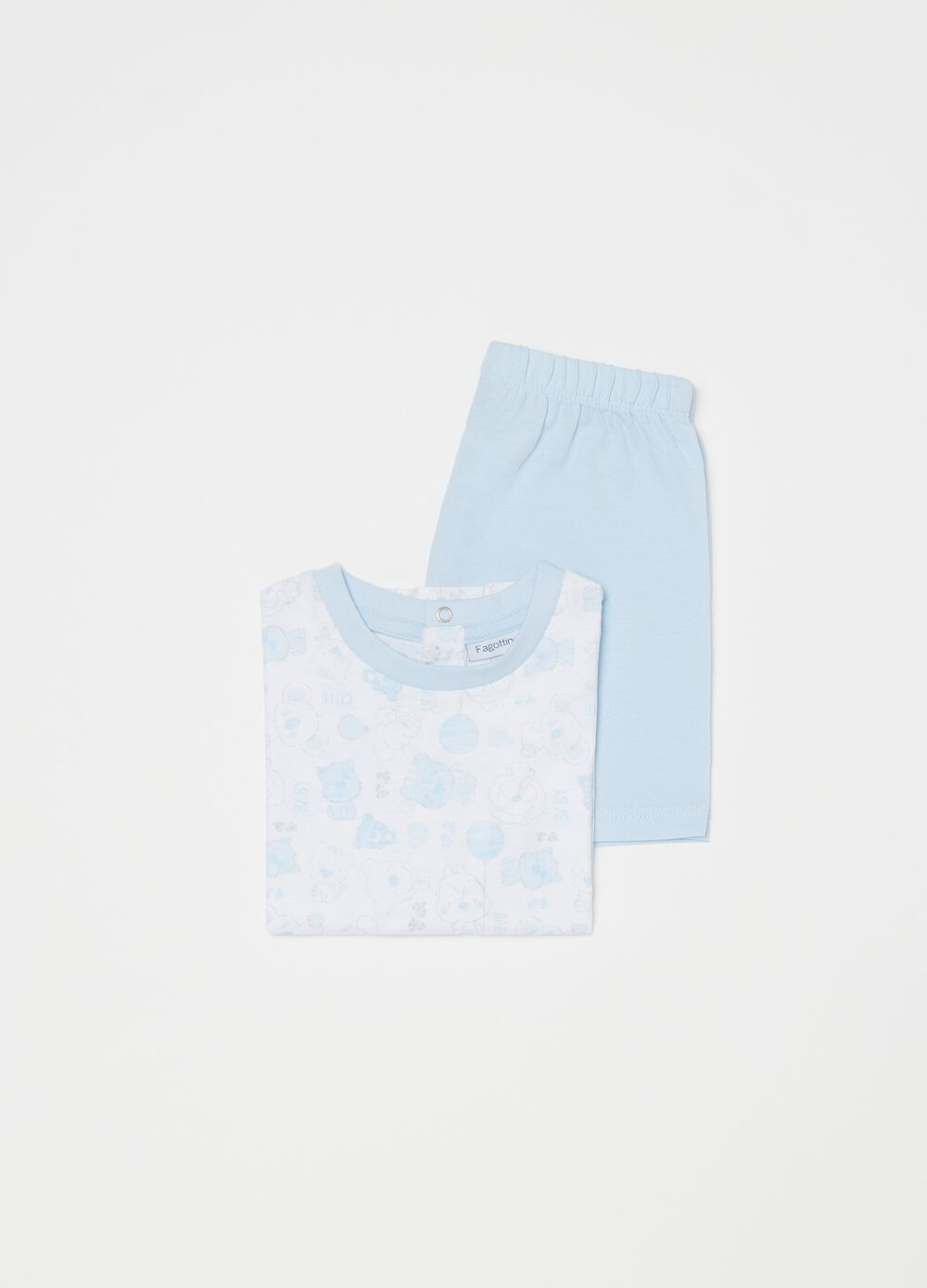 Short 100% organic cotton pyjamas with pattern