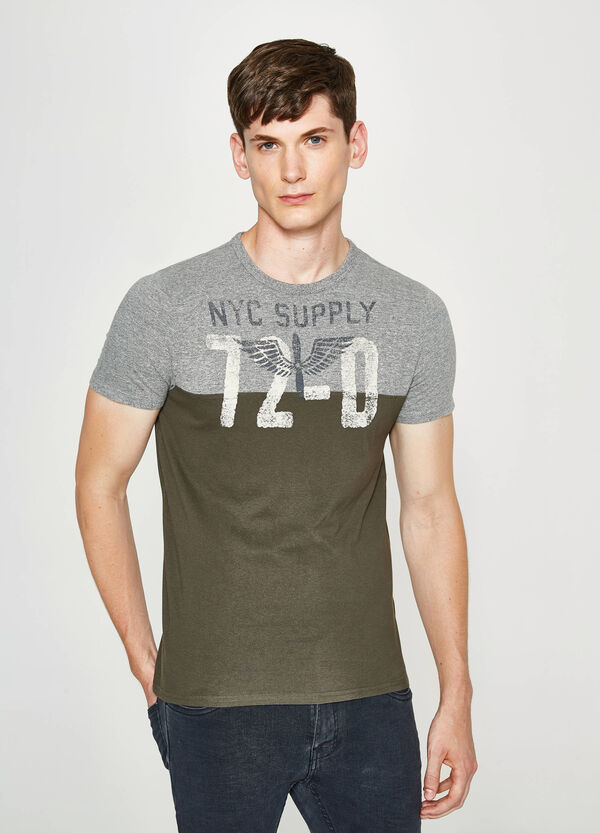 Two-tone T-shirt with print   OVS