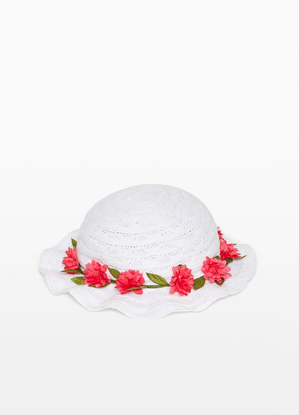 Braided cotton hat with flowers