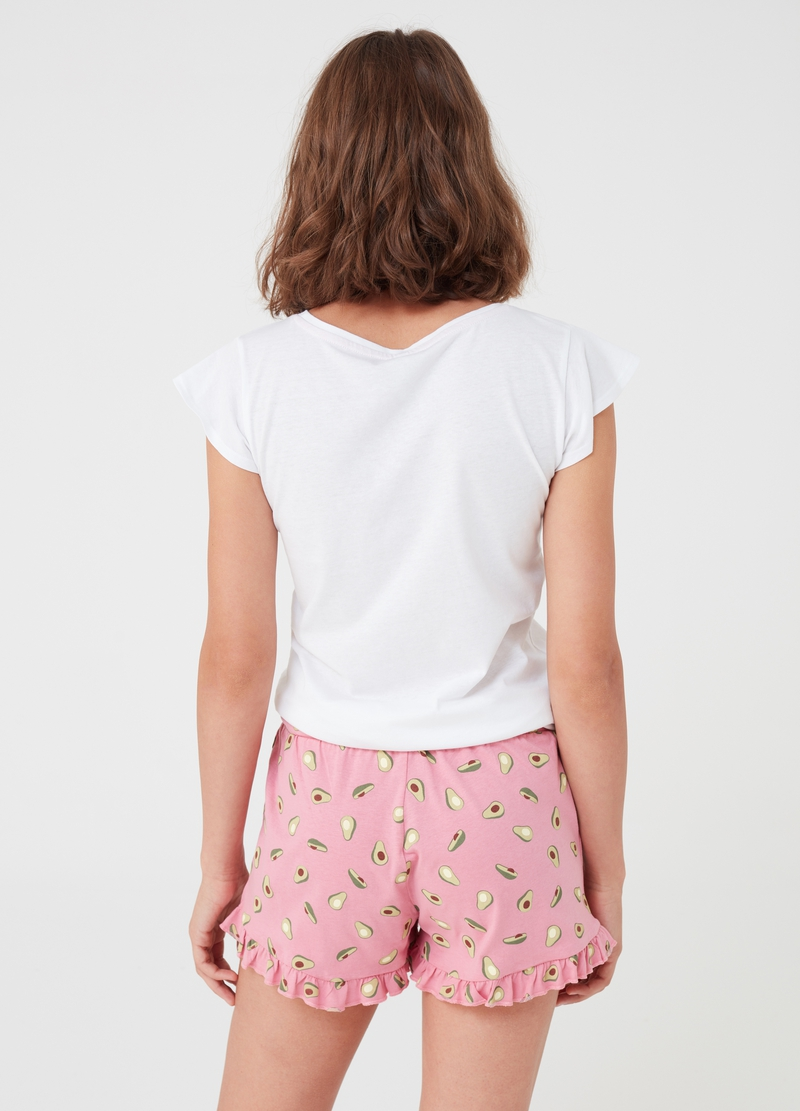 T-shirt and shorts pyjamas with avocado print image number null