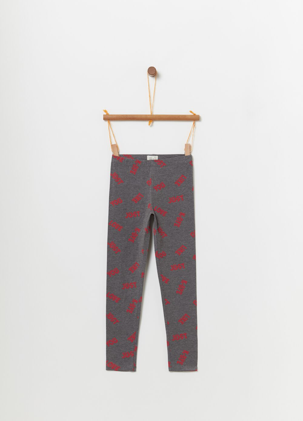 Stretch mélange leggings with print