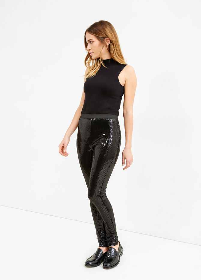 Solid colour leggings with sequins