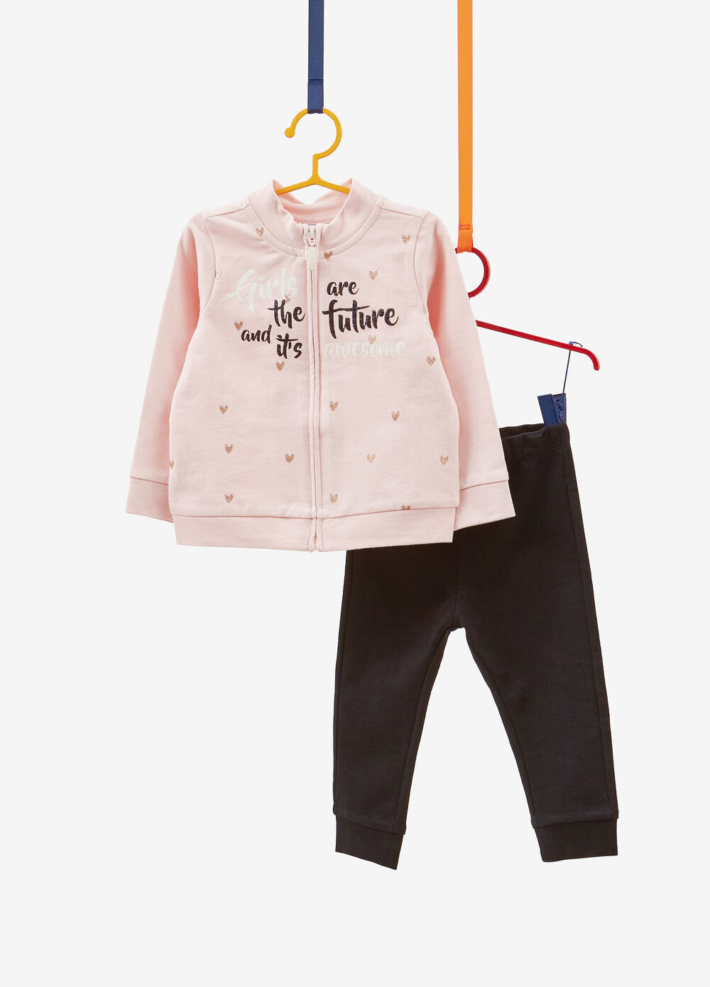 Stretch cotton tracksuit with glitter heart print