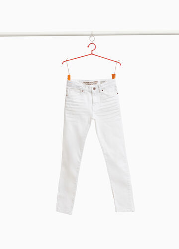 Straight-fit stretch jeans with whiskering