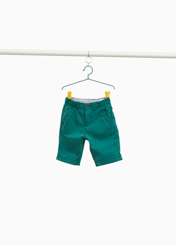 Solid colour 100% cotton Bermuda shorts