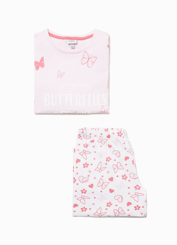 Pyjamas in 100% cotton with butterfly pattern