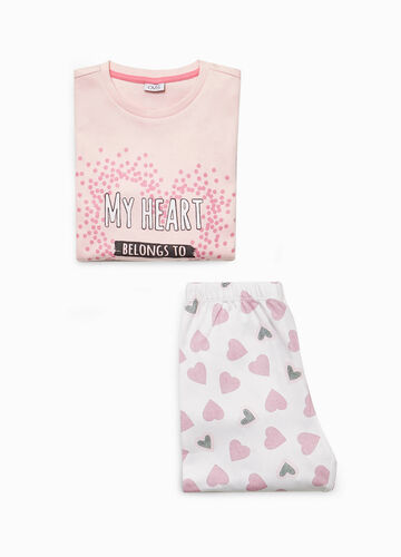 Heart pattern pyjamas in 100% cotton