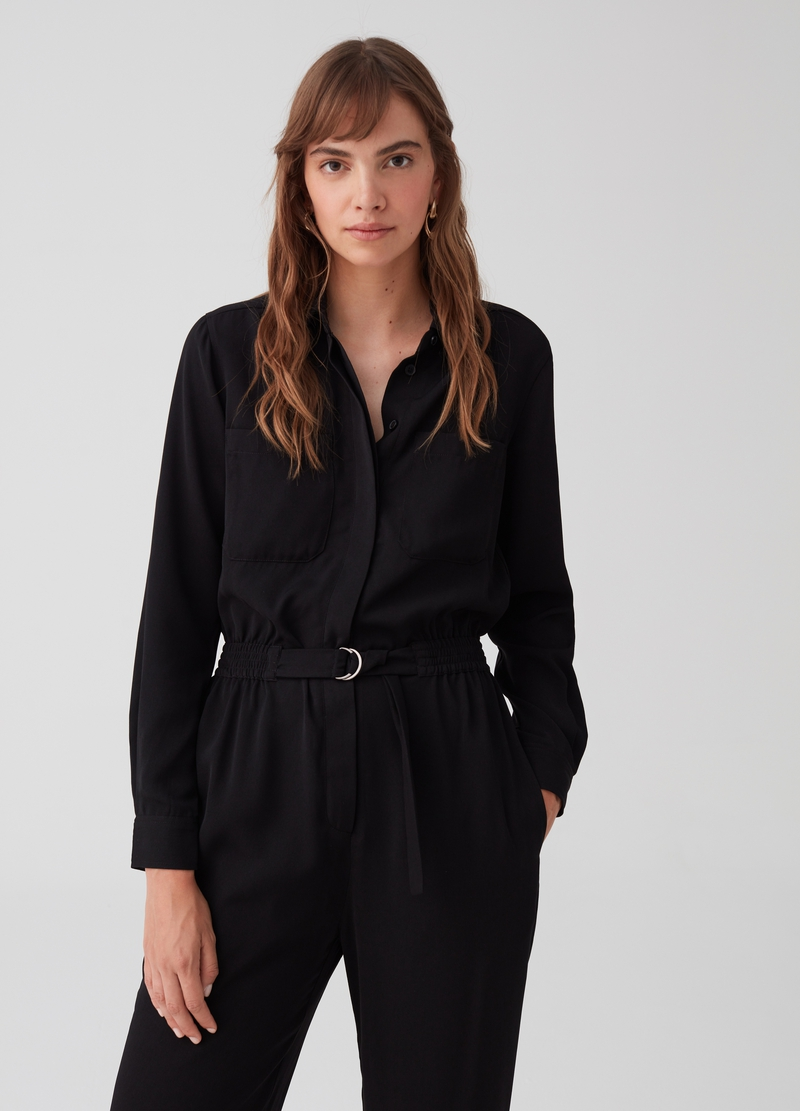 Utility playsuit with belt and buckle image number null