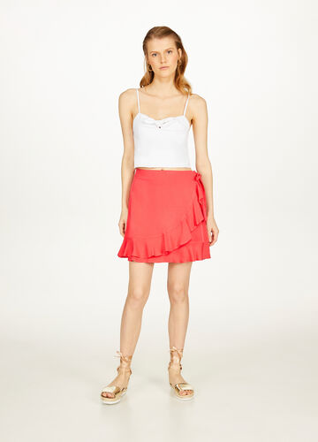 Solid colour viscose skirt with flounce
