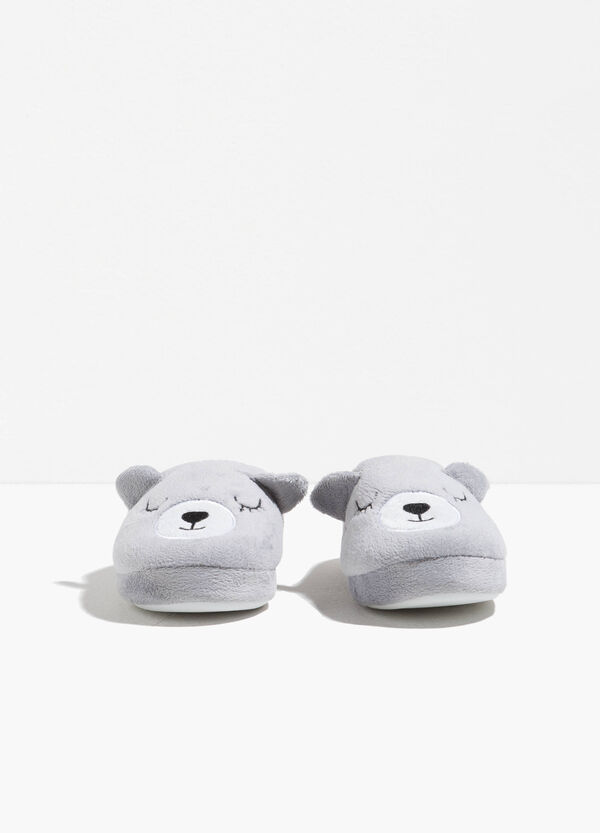 Canvas slippers with embroidery and ears