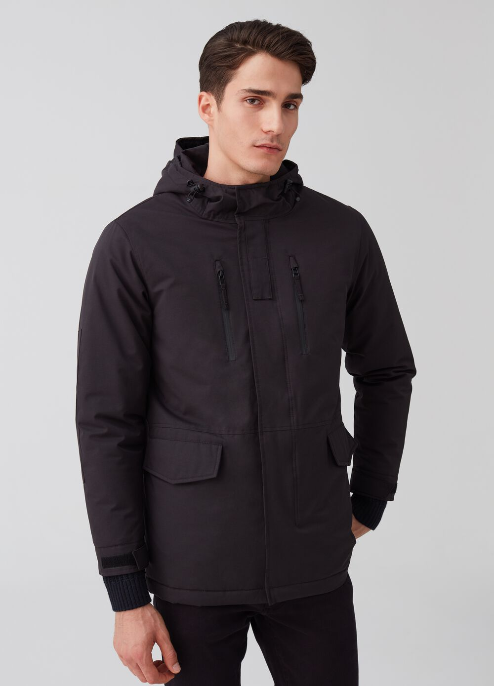 Padded water-repellent jacket with zip