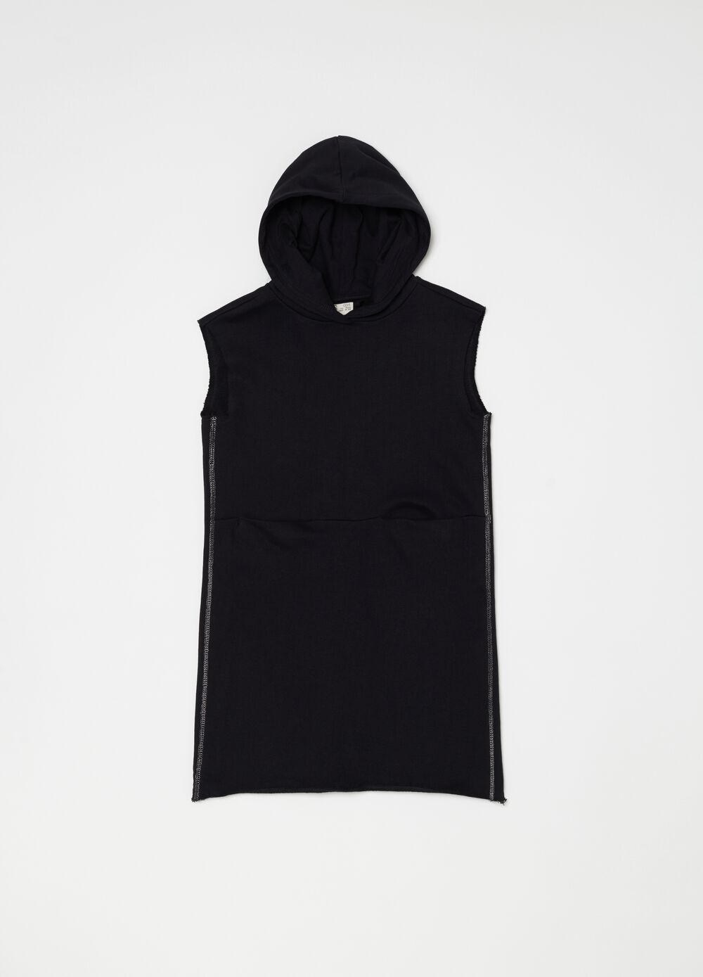 Sleeveless dress with hood