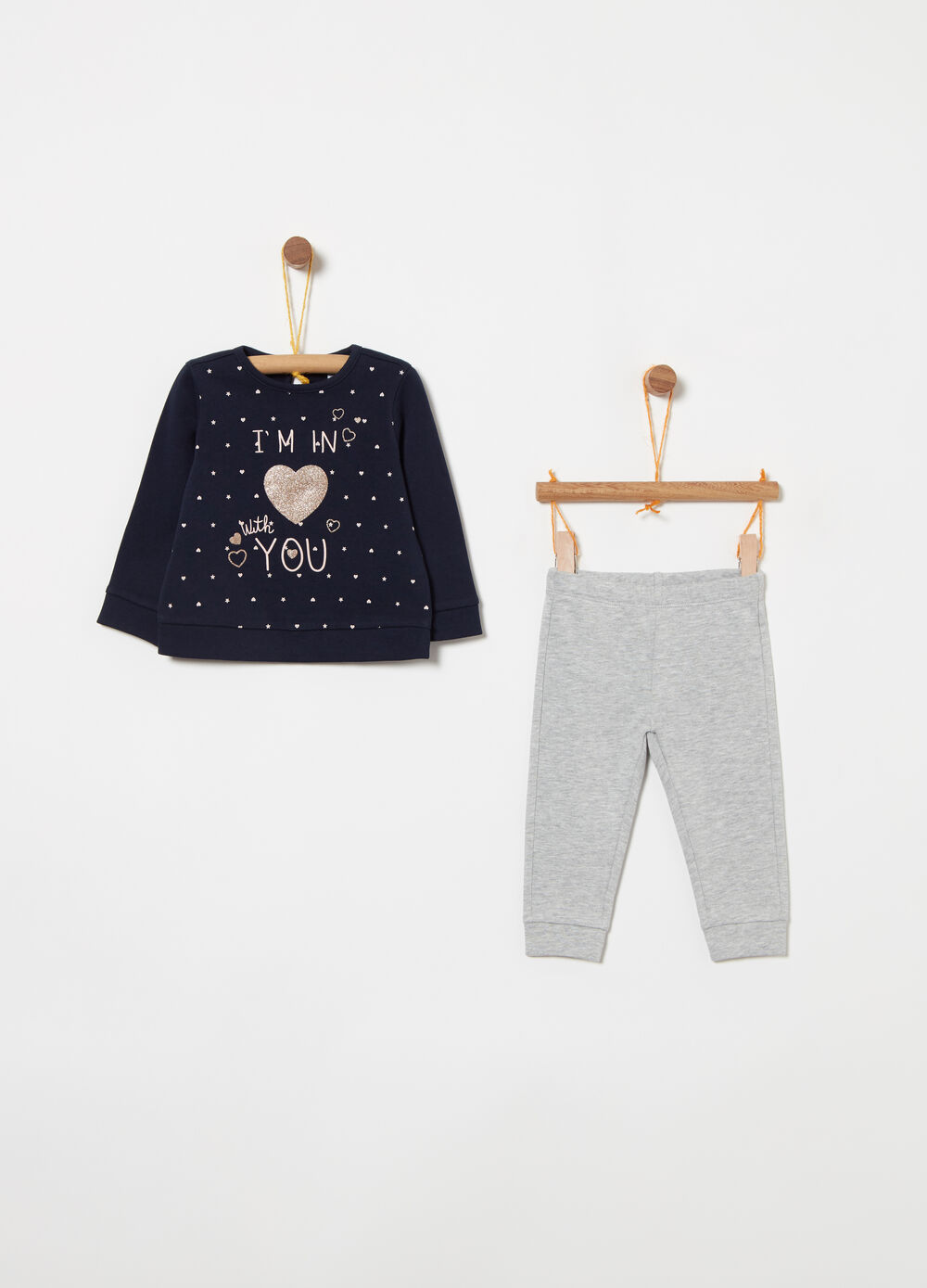 Jogging set in 100% cotton with glitter and print