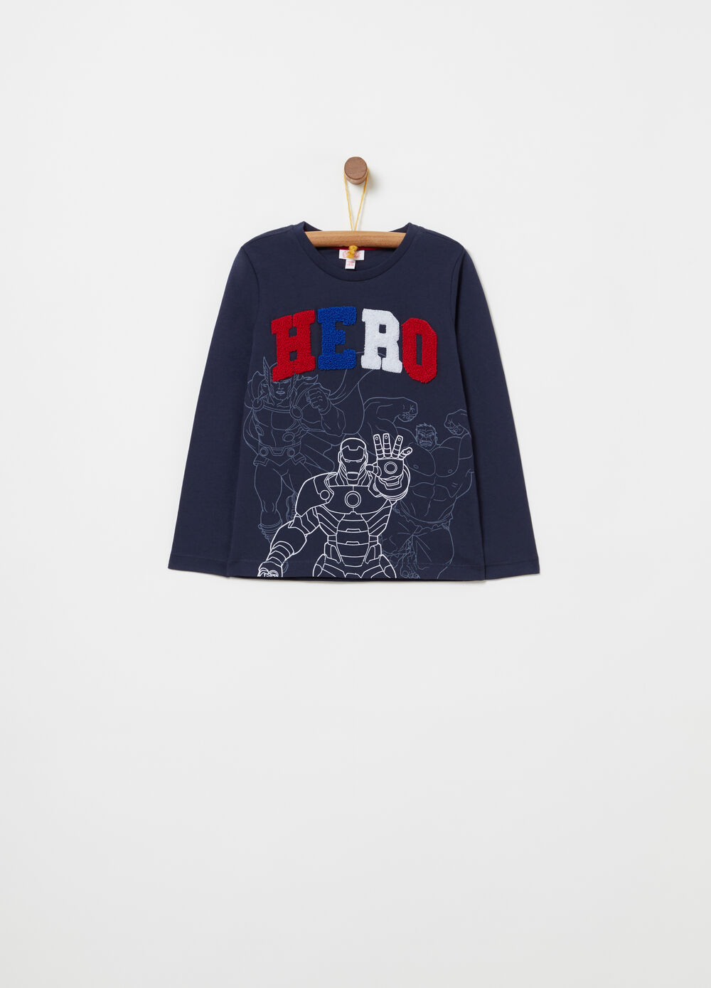 T-shirt with 3D embroidery and Avengers print
