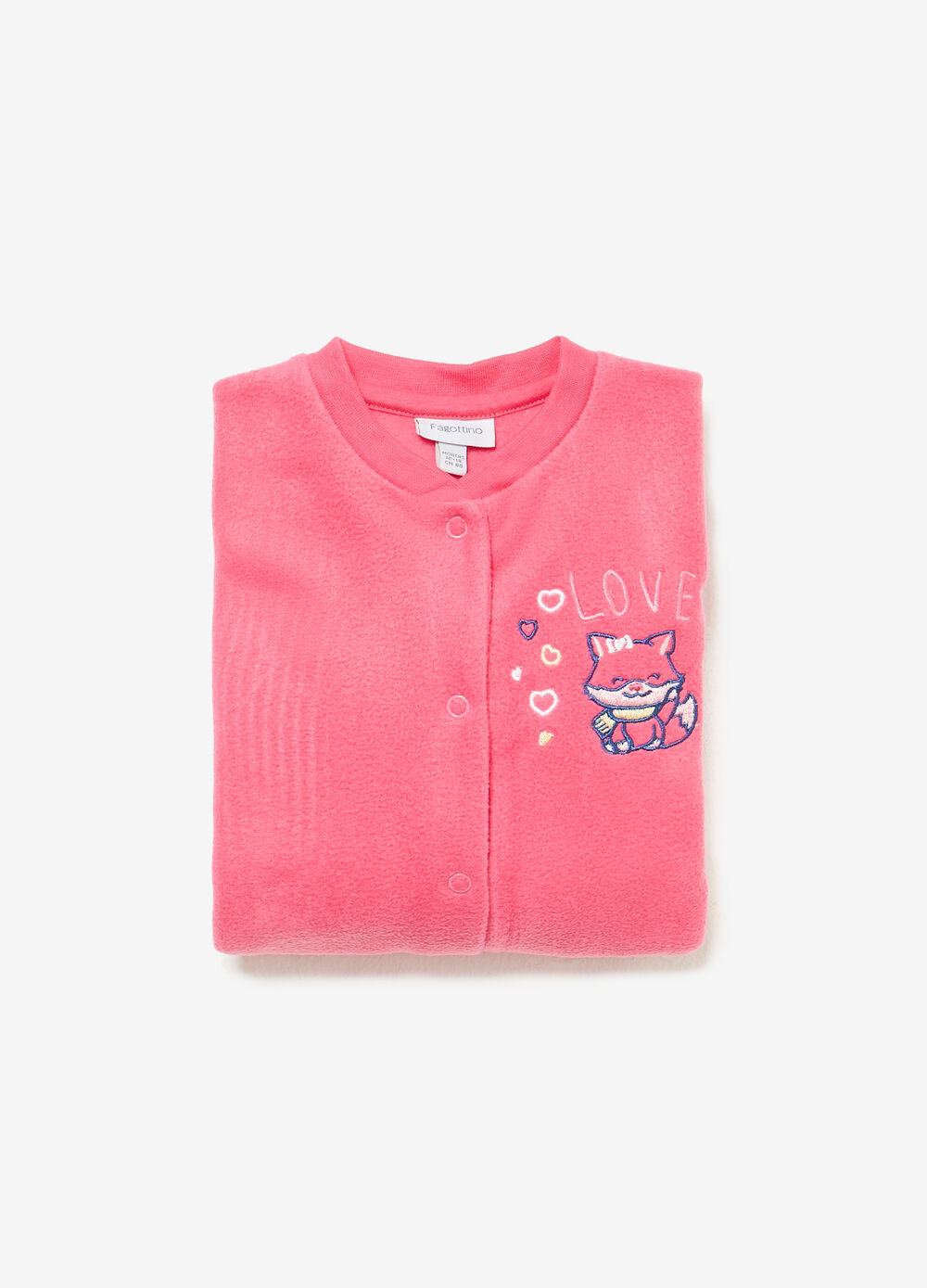Romper suit with kitten embroidery