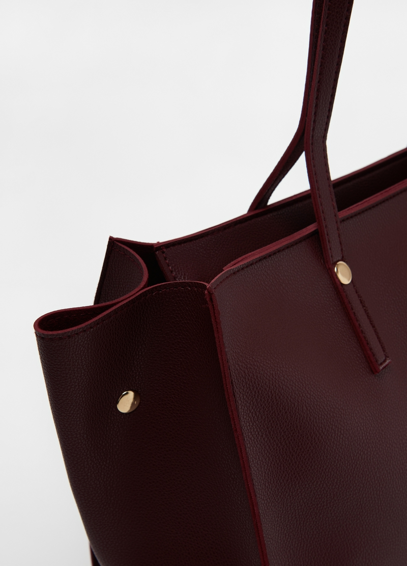 Leather-look textured shopping bag image number null