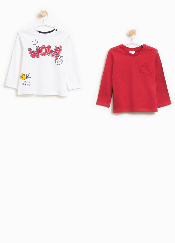 Set due t-shirt con taschino e stampa
