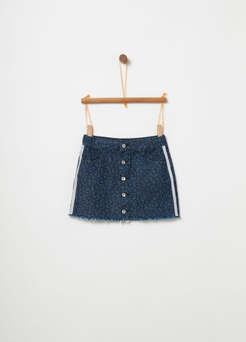 Denim skirt with glitter inserts