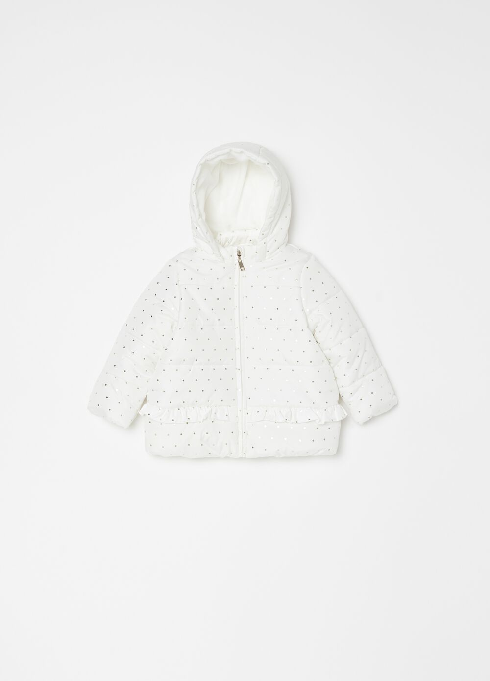 Padded and quilted jacket with micro dots