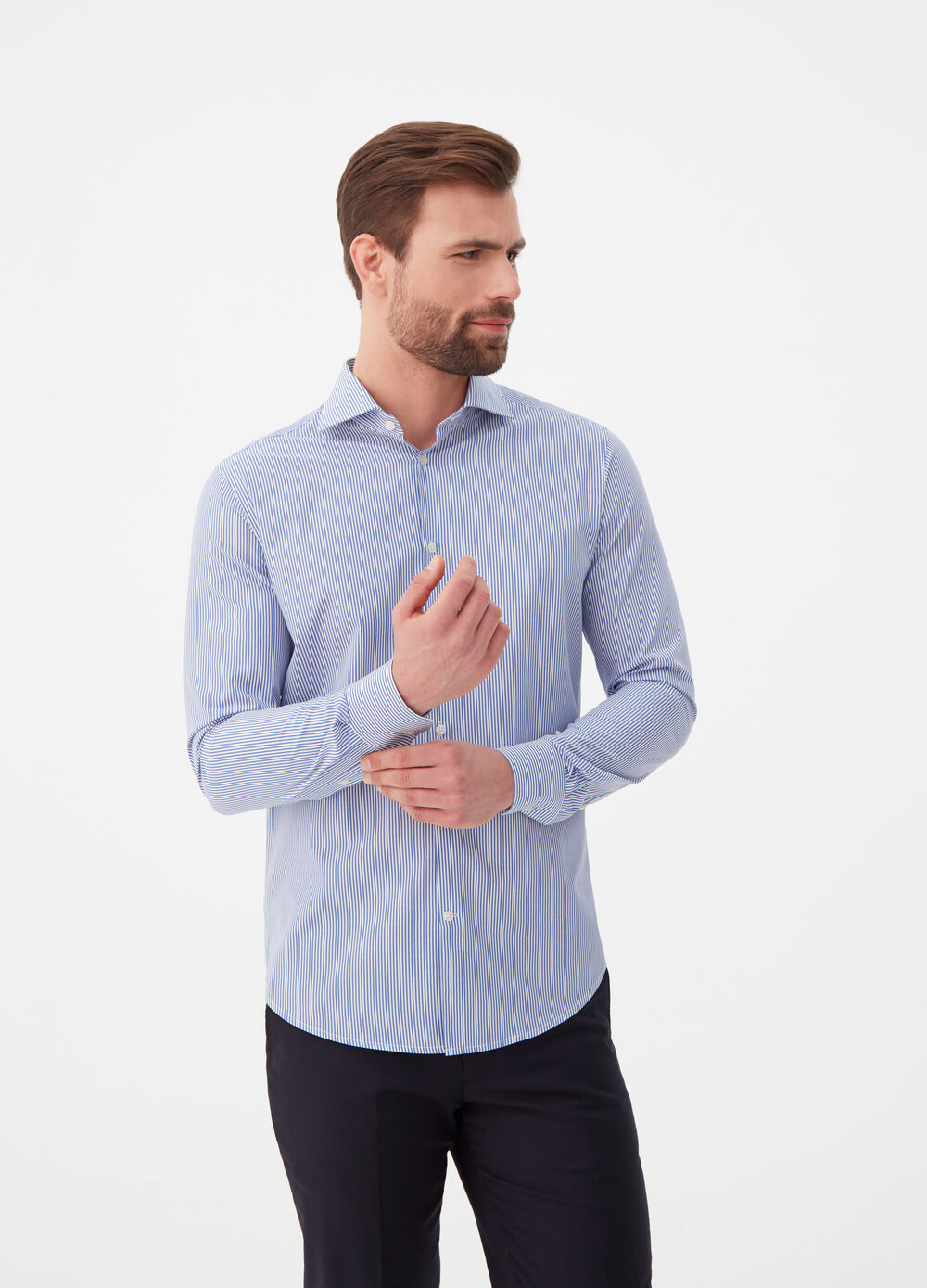 100% cotton striped. slim fit shirt.