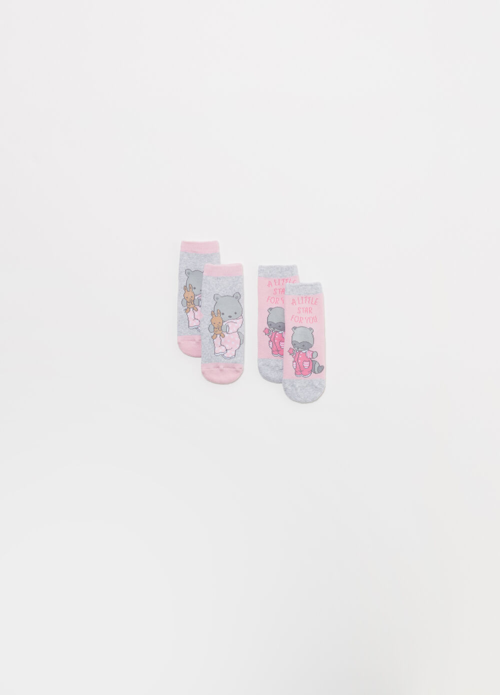 Two-pair pack BCI cotton blend socks with animals